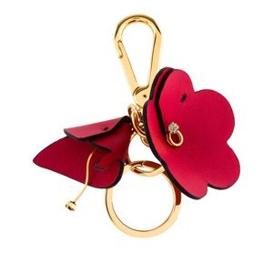 NWT MARNI Leather Floral Keychain in Red and Gold